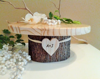 "TREASURY ITEM - 12"" Rustic wedding cake stand - Personalized cake stand -  Rustic cake stand - Wood cake stand - Rustic wedding decor"