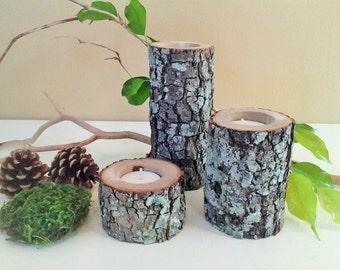 TREASURY ITEM - 3 Wood tree branch candles - Tree log candles - Rustic Candles - Wood candles - Wedding candles - Cabin decor - Rustic decor