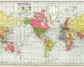 World Map 1902 Vintage Aged Yellowed Printable Digital Download JPG Image