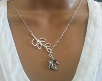 Lariat Style Antique silver  Alligator  Necklace