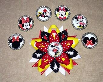Minnie Mouse Bottlecap Hair Bow- You choose bottle cap