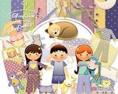 Childrens scrapbook, Sleep Over scrapbook, Instant download,, Digital scrapbook, Journal Clipart,