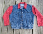 SALE- Vintage 90s Red and blue color block oversized denim jacket Jordache size M