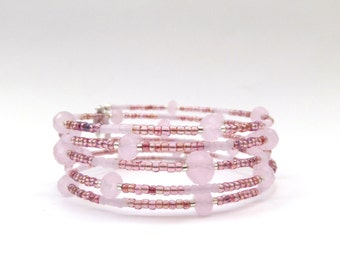 Pink Jade Bangle - Crystal and Raspberry, Memory Wire Bracelet - Boho Chic - gifts for girls