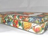 Vintage Tin Colorful Fruit Design Tin Pretty Storage Tin