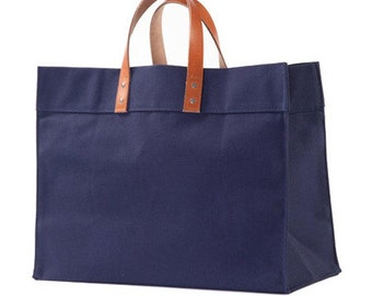 Monogrammed Natural Navy Canvas Totebag Personalized