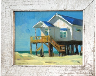 """Original Painting Decor House Oil Painting """"Beach House"""" by Bo Kravchenko for SEASTYLE Wall Art Modern Contemporary Collectibles"""