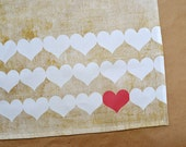 Kitchen Decor Linen Tea Towel Rustic Decor Red Heart Gift for Chef