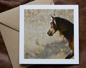 FRESCO, Equine Art Card, Greeting card, Horse photography, Rustic, fall colours
