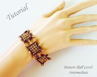 SPANISH TILES beaded bracelet beading tutorials and patterns superduo twin beadwork jewelry beadweaving tutorial beading pattern instruction