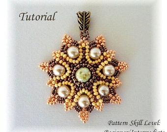 SUN FLARES beaded pendant beading tutorial beadweaving pattern seed bead beadwork jewelry beadweaving tutorials beading pattern instructions