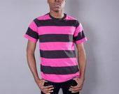 1990s Pink & Black Bold Stripe Jockey T Shirt // Medium