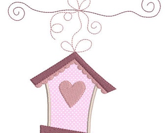 Instant download birdhouse embroidery design applique download