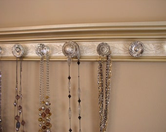 "Champagne jewelry organizer.7 decorative knobs on 20 "" Embossed necklace rack gives you beautiful decor & Jewelry storage"