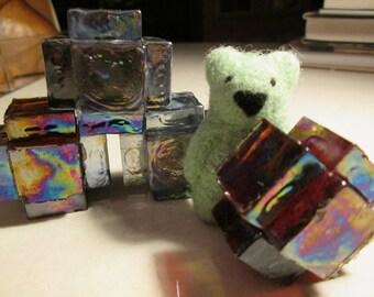INCA TOYS  Mayan building blocks  glass PAPERWEIGHT hand made with Spanish iridescent glass original