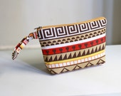 Tribal Pouch, Aztec print pouch, zippered pouch, cosmetic case