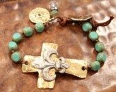 CUSTOM ORDER for ROBYN Turquoise Sideways Cross Bracelet rustic beaded fleur de lis