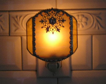 Stained Glass Nightlight|Yellow Iridescent with Filigree|Home & Living|Lighting|Night Lights|Stained Glass Art|Handcrafted|Made in USA