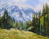 watercolor ORIGINAL Backcountry camping mountain forest watercolour