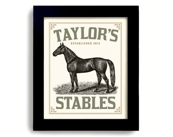 Horse Art Print Personalized Art Western Horse Lover Gift Equine Gift Girls Bedroom Art of Horse Stable Black Horse