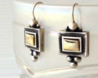 earrings, sterling silver and gold square earrings, square earrings,