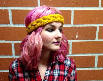 Mustard Yellow Braided Knit Headband