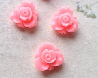 12 mm Pink Colour Resin Rose Flower Cabochons (.sm)