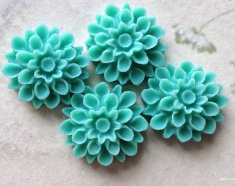 17 mm Green Colour Resin Dahlia Flower Cabochons (.am)