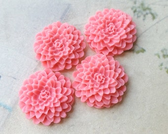 22 mm Pink Resin Chrysanthemum Flower Cabochons (.ag)(zzb)