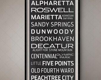 Atlanta, Georgia Typography Poster - Subway Blind / Bus List 2