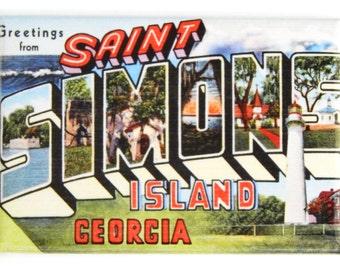 Greetings from Saint Simons Island Fridge Magnet
