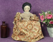 1920's Black Toaster Cover Doll, Brown Calico Dress, Black Americana