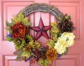 Country Farmhouse Wreath - Country Floral Wreath with Rustic Red Texas Star - Dining Room Wreath