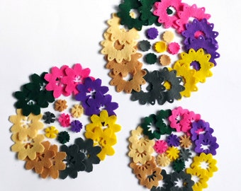 Felt Flower Shapes FOUR, set of 84 pieces