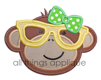 Monkey Nerd with Bow Applique Design - 4 Sizes - Instant Download