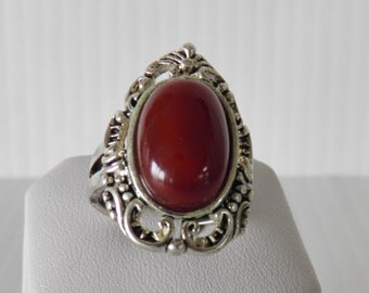 Coral and Silver Ring, Size 8