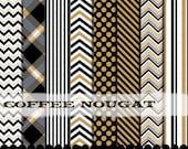 Gold and Black clip art frames chevron clipart digital papers, Chevron gold black digital paper pack : p0218 3s4349 IP