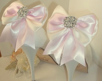 SHOE CLIPS,  Light Pink,Ivory, White, Satin Bow Shoe Clips, Rhinestone Shoe Clips, Bridal Shoe Clips, Wedding Shoe Clips, Clips for Bridal