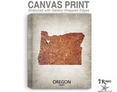 Oregon Map Stretched Canvas Print - Home Is Where The Heart Is Love Map - Original Personalized Map Print on Canvas