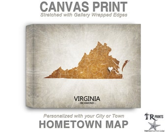 Virginia Map Stretched Canvas Print - Home Is Where The Heart Is Love Map - Original Personalized Map Print on Canvas
