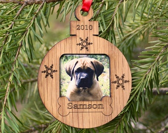 "3"" Personalized Dog Ornament - Christmas Ornament – Photo Ornament - Small Frame - Dog Frame"