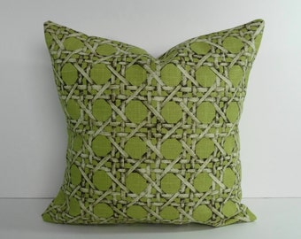 Decorative Wicker Pillow Cover, Throw Pillow, Cushion Cover, Lime Green, Green, 16 x 16