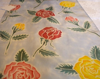 Batiked and Painted Silk Scarf - Roses and Rosebuds with Sky Blue Background