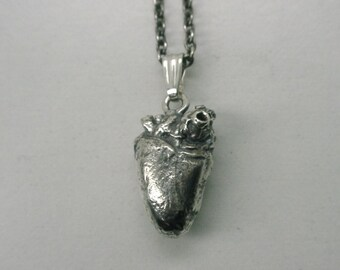 Blackbird Heart Necklace, anatomical heart, Sterling Silver