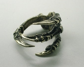 Raven Claw Ring, Brass, Carrion Crow