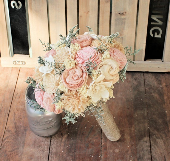handmade alternative wedding bouquet ivory blush nude bridal. Black Bedroom Furniture Sets. Home Design Ideas