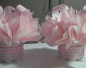 NEW mini diaper cake in different chevron choices perfect for a baby shower or first birthday table centerpiece