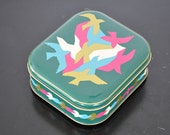 Square small storage tin birds /mod/mid century design