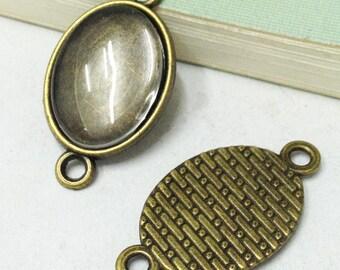 Cabochon Base -20pcs Antique Bronze Oval Bezel Pendants 13x18mm F508-4
