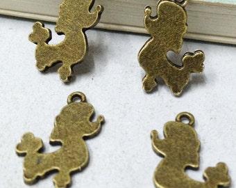 30pcs Antique Bronze Poodle Dog Charm Pendants 11x18mm F203-4